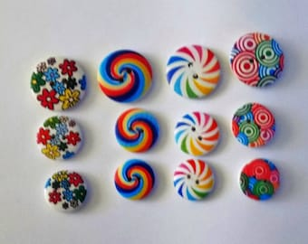 12  Wooden spiral  Colourful Buttons - #WS-00089