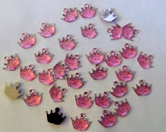 10 Resin Crown Flat Back Buttons - #R-00064