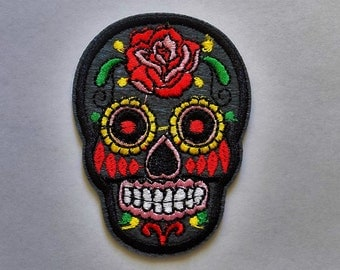 Embroidered Sugar Skull Patch - Iron or Sew On Applique / Sew on Patch  - #SP-00011