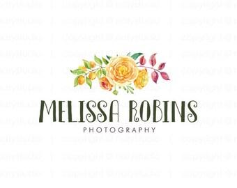 Flowers logo watercolour logo photography logo floral logo business logo premade logo design