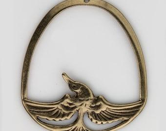 Vintage stamped brass hoop with bird in flight. 45x40mm. 1 pc. b9-2059(e)