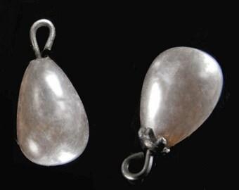 Vintage Japanese glass pearl teardrop bead on a headpin. 11mm pkg of 6. b11-pr-0130(e)