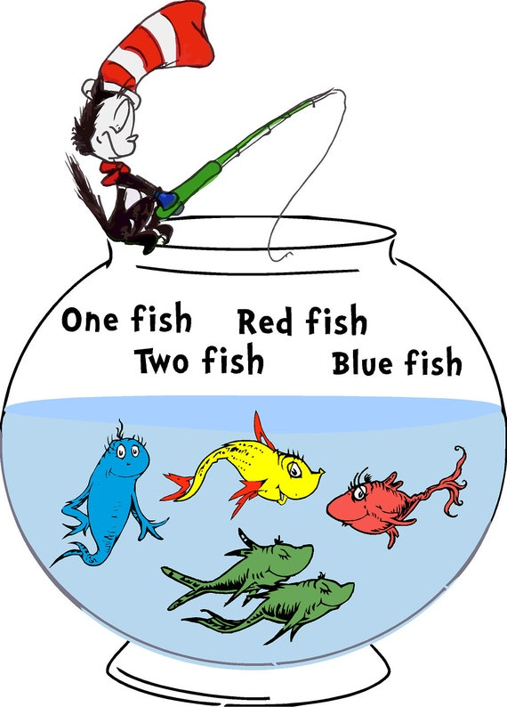 Dr. Seuss Fish One Fish Two T-Shirt Red Fish Blue Fish Tee