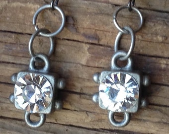 Antique Silver and Rhinestone Earrings