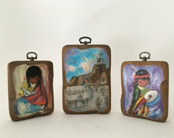 Set of 3 vintage Degrazia print on wood block wall plaques