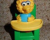 Vintage Baby Big Bird in Green Highchair Sesame Street Toy Figure by illco Muppets