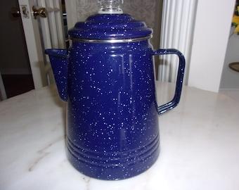 Cobalt Blue speckled enamelware coffee pot