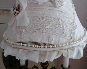 Vintage White  Lampshade Shabby