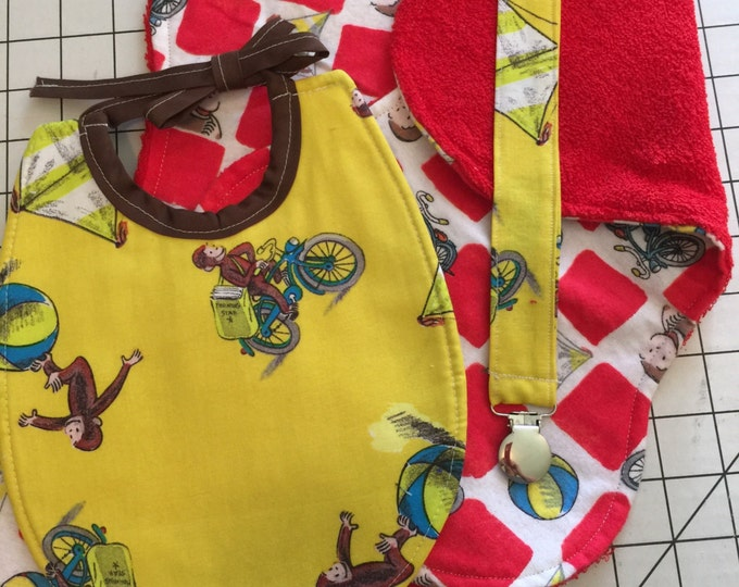 Baby Bib Curious George Gift Set:  Baby Bib, Burp Cloths, Pacifier Clip