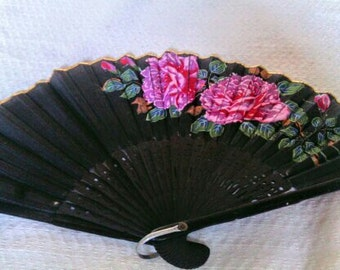 Vintage Hand Painted Silk Fan Marked Occupied Japan