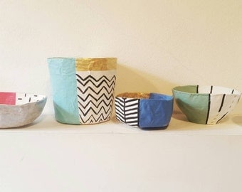 Handmade paper mache bowls