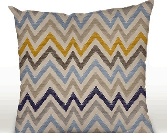 Pillow cover, decorative cushions in Chevron Blue fabrics, several sizes