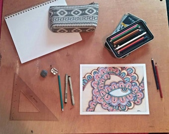 Original, hand-drawn in colored pencil- Eye of the Paisley