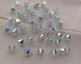 Swarovski #5301 Crystal Light Azore AB Bicone Faceted Beads 4mm 5mm 6mm