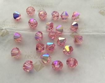 Swarovski #5301 Crystal Light Rose Pink AB Bicone Faceted Beads 4mm 5mm 8mm