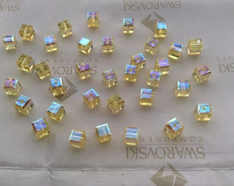 24 pieces Swarovski #5601 4mm Crystal Jonquil Yellow AB Cube Square Faceted Beads
