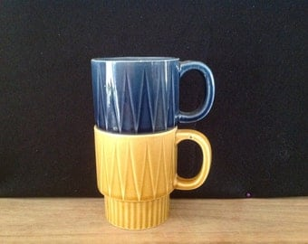 Pair of Vintage japanese ceramic coffee mugs blue and yellow. 1970s kitchen serving cups