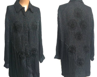 Vintage Silk Beaded Blouse// Tunic. Plus Vintage Size 1X