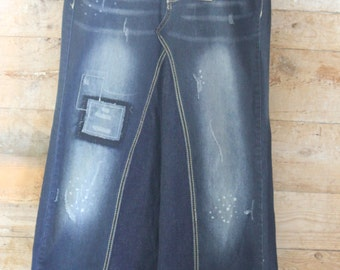 Distressed Denim Maxi Skirt, Ladies Size 8