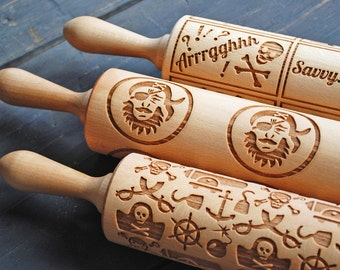 TALK LIKE A PIRATE (set of 3) - embossed, engraved rolling pins for cookies - perfect Talk Like a Pirate