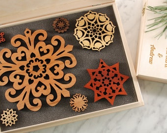 SET of WOODEN SNOWFLAKES - Wooden Gift Box, Ready to Gift, Solid Wood Snowflake Ornament, for Christmas, Christmas gift, Housewarming gift,