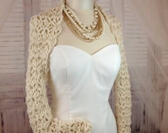 Bridal Shrug Bridesmaids Bolero Ivory Shrug Wedding Shoulder Cover Crochet Shrug Short Three-quarter Or Long Sleeve Winter Wedding