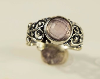 Sterling Silver Rose Cut Rose Quartz Filigree Ring