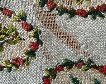 Antique silk tapestry late 1800s, armchair sample, cream, red & green, olive floral motif, upholstery, cushion, vintage textile provencal