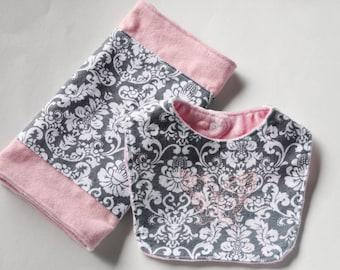 Baby Bib and Burp Cloth Set, Baby Girl Cloth Set.