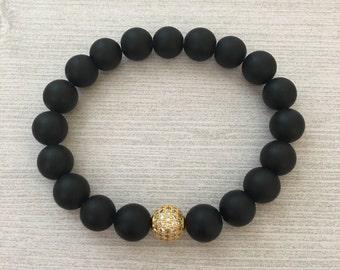 Matte Black Onyx Gold Shamballa Bead Bracelet, Bracelets for Men, Protection Bracelet, Gifts Ideas for Him