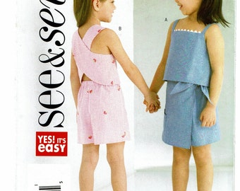 Butterick See & Sew Pattern 4159 Children's/Girls' Top, Skort and Shorts size A (2-5) UNCUT