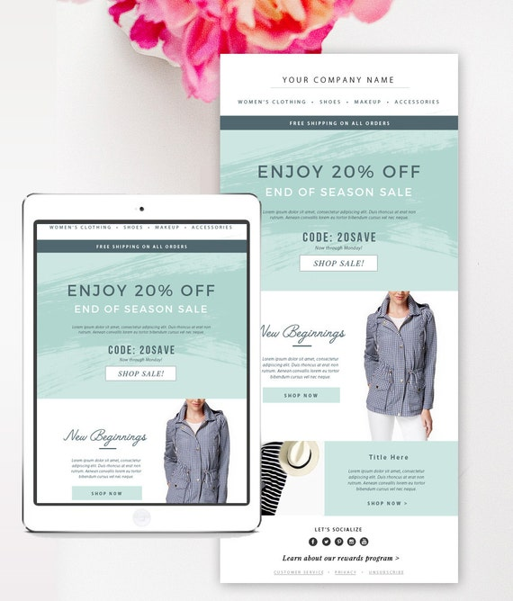 sales fashion e mail newsletter template psd by bystephaniedesign. Black Bedroom Furniture Sets. Home Design Ideas