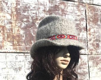 COWGIRL HAT, Handmade in Montana, Hand Knit Hand Felt Hat, Winter Cowgirl, Western Style Felt Cowboy Hats