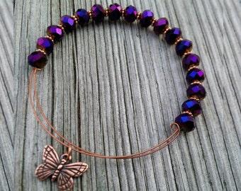 Butterfly Bracelet, Butterfly Bangle, Butterfly Charm, Purple and Copper Bangle, Copper Bangle, Copper Bracelet