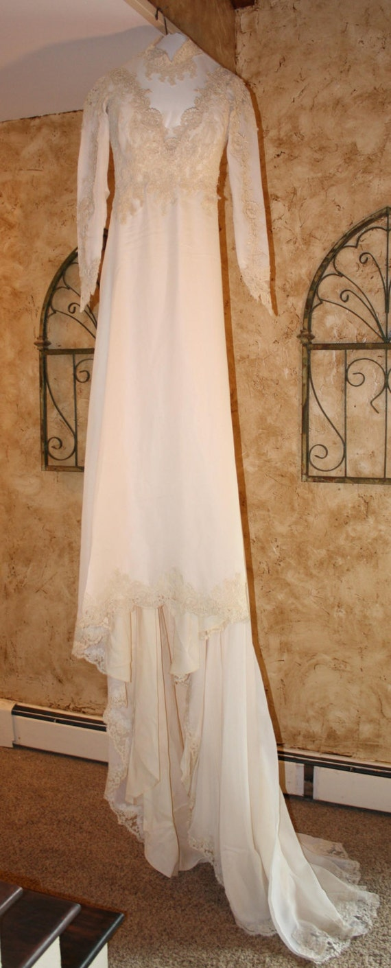 Beautiful 19th century silk chiffon wedding dress with for 19th century wedding dresses