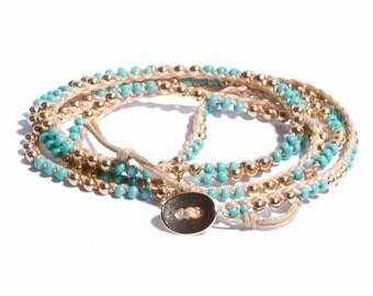 Wrap Bracelet, Bohemian Bracelet, Bohemian Necklace, Multi Use Long Necklace, Convertible Necklace, Turquoise Bead Bracelet, Boho Macrame