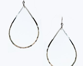 Silver Plated Hammered Teardrop Earrings