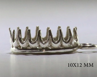 12X10 m''m Decorated Oval bezel cup with loop sterling silver