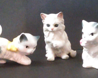 3 Small Vintage Made in Japan Kitten Cat Figurines