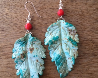 Hand Carved Leaf Turquoise and Sea Bamboo Sterling Silver Earrings