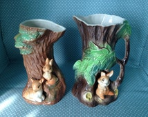 2 vintage Hornsea Pottery Royal Fauna Tree vase with Buster rabbit buddies. - FREE UK POST.