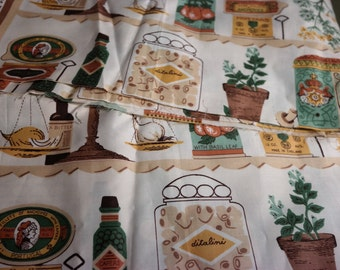"Fabric ""Capers"" Novelty Kitchen Fabric Panels  Polished Cotton"