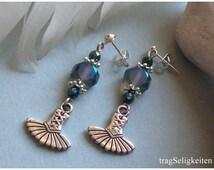 Blue ballet charm earrings, tutu charm, ballet jewellery, dangle charm earrings, dance jewellery, blue glass beads, ballet gift, dance gift