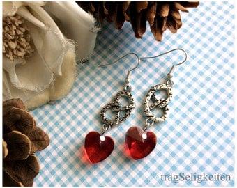 Red pretzel earrings, Oktoberfest jewelry, red heart earrings, red glass heart, Wiesn jewellery, dirndl  earrings, bretzel jewellery