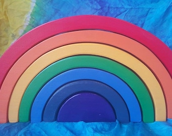 "Rainbow stacker puzzle, waldorf inspired, extra thick rainbow, 3.75"" thick rainbow, rainbow puzzle, rainbow, waldorf puzzle, wooden rainbow"