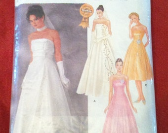1990s Simplicity 7068 Pattern Evening/Wedding Dress with detachable long overdress