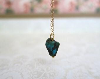 Turquoise Minimalist Necklace, Layering Necklace Gemstone, Single Green Turquoise, Bridesmaid Gift, Single Stone Petite Necklace, Gold Fill