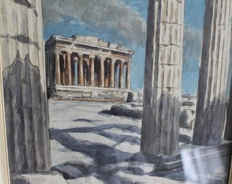 HALF PRICE SALE Watercolor Art Work of Parthenon Temple in The Acropolis in Athens, Greece, It is an Original Signed by the Artist, nice
