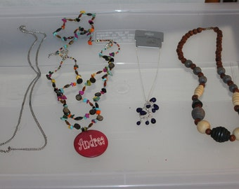 4 Necklaces, Accessories, Vintage, Gift, Necklace w Andrea on it, Wood Beaded, Silver Chain w Blue Gems, & a Chain That You Can Decorate