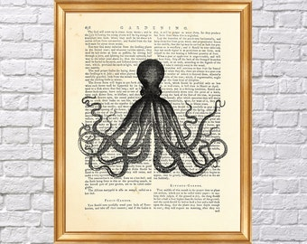 Octopus Art Print, Dictionary Poster, Wall Decoration, Book Page Print